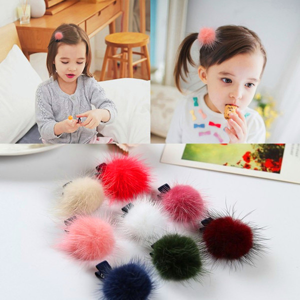 Pom Poms Hair Clip Hair Accesorios Cute Girls Hairpin Lovely Fluffy Hairclips Elastic Hairy Ponytail For Little Girls
