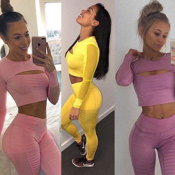 Sports Tracksuit Women 2019 Hollow Out Mesh Long Sleeve Crop Top and Leggings 2 Piece Fitness Women Yoga Set Sexy Gym Wear Running Clothes