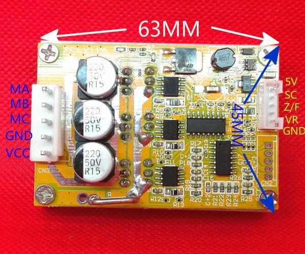 Freeshipping 350W 5v-36V DC Brushless motor Controller BLDC Three-phase Driver board 12V 24V with heat sink