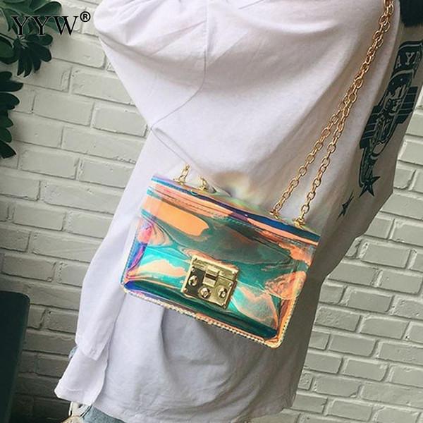 YYW Kadınlar Avrupa Moda PVC Lazer Omuz Crossbody Çanta Şeffaf Kare Şekli Omuz Çantaları Tasarımcı Bolsas Soğutucu Çanta