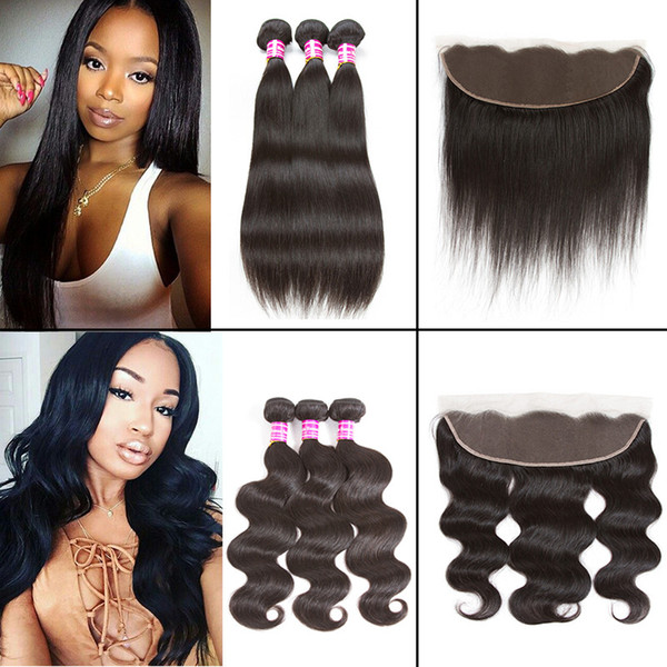 8a Straight Brazilian Virgin Hair Weaves Unprocessed Brazilian Body Wave Human Hair Bundles with Frontal Closure DHgate Top Selling Items