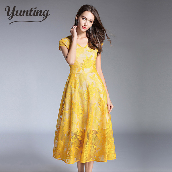 2018 Summer Women stitching yellow green Lace Dress Ladies V-Neck Runway Vintage Female Slim Sexy Party Dresses