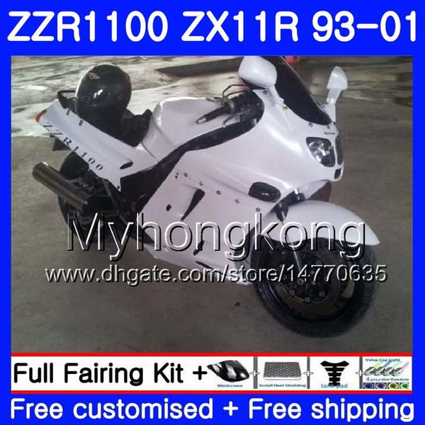 Body For KAWASAKI NINJA ZX 11R ZX11R 93 98 99 00 01 206HM.32 ZZR 1100 ZX11 R ZZR1100 ZX-11R 1993 1998 1999 2000 2001 Gloss white Fairings