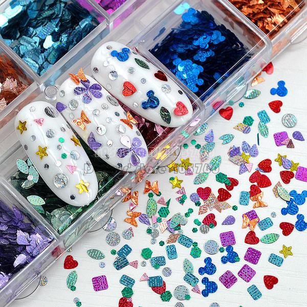 1 Box 12 Shapes 12 Colors Glitter Laser Stripes Square Heart Stars Butterfly Sequin Nail Art Slice Gem Decorations DIY Salon Tip