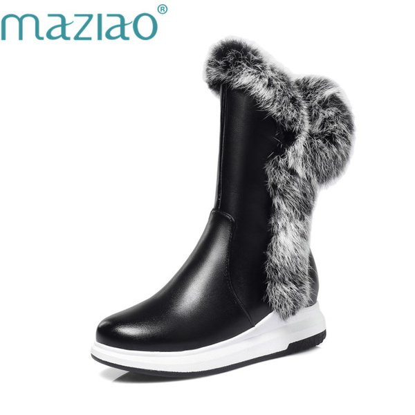 maziao animal fur women snow boots flat heels 2018 new winter cotton shoes woman with zipper black white thick plush round toe
