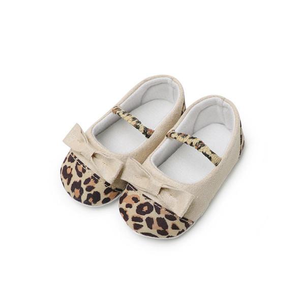 Newborn Baby Girls Summer Kids Bow Shoes Soft Sole leopard print Crib Prewalker Toddler Anti-Slip one pairs