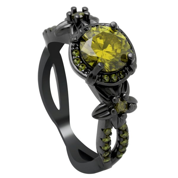 whole saleNew Black Gun Color Small Flower Round Stone Design Ring Fashion Cubic Zirconia Wedding Band Claw Bead Party Cocktail Ring Women