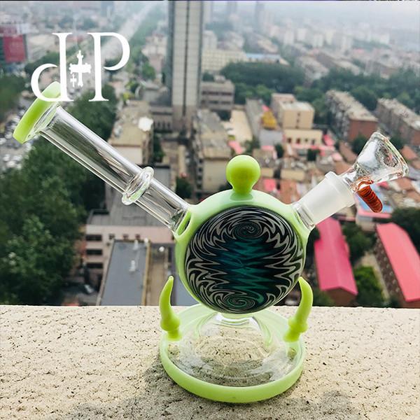 Reloj de alarma PlusPlus Glass Bong 008RAT único Reseda Verde y tubo de arte embriagador Twisting con percolador 6.3 altura 14mm Tubería de agua femenina