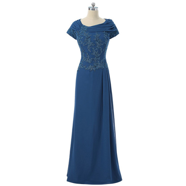 Royal Blue 2018 Mother Of The Bride Dresses A-line Cap Sleeves Chiffon Appliques Beaded Groom Long Mother Dresses For Wedding
