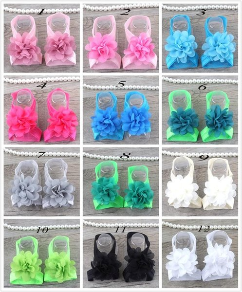 baby chiffon flower sandals shoes cover barefoot footwear flower ties infant children girl kids first walker shoes photography props
