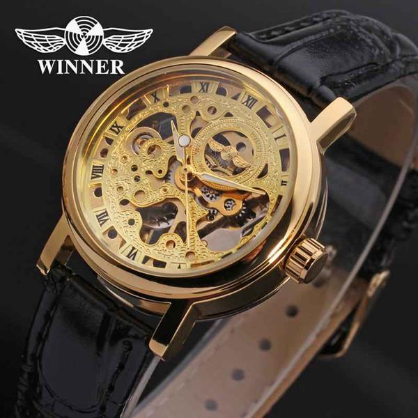 GANADOR Mujeres Reloj Mano Viento Mecánico Señora Relojes Marca Superior Lujo Clásico Moda Banda de Cuero Esqueleto Reloj Femenino 0015