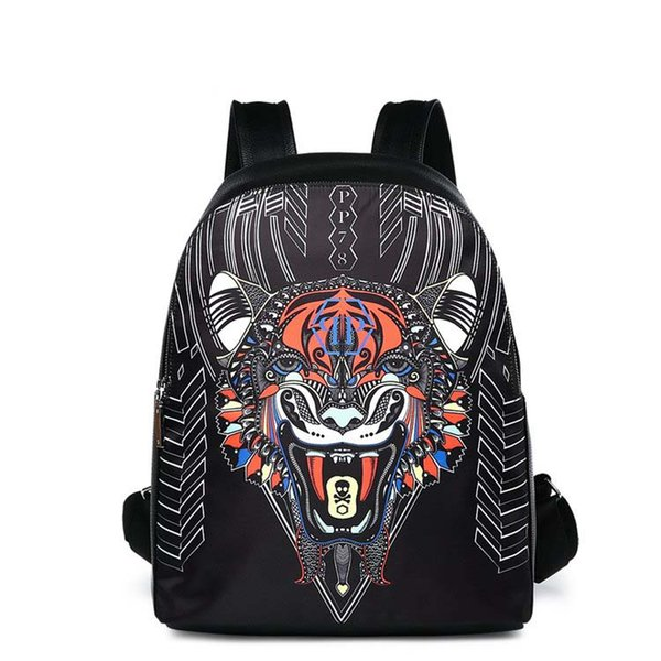 2018 serin hayvan boy kaplan kafası Yeni Moda erkekler tasarımcı Sırt Çantaları Toptan Deri PU Sırt Çantası Okul bilgisayar Çantaları