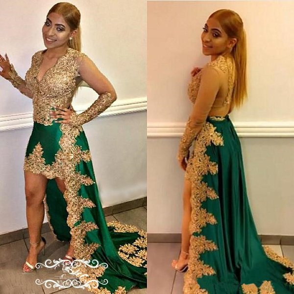 Chic Gold Appliques Lace High Low Prom Dresses 2018 Sheer Long Sleeves Deep V Neck Green Satin Beads Runway Celebrity evening Dress Gown