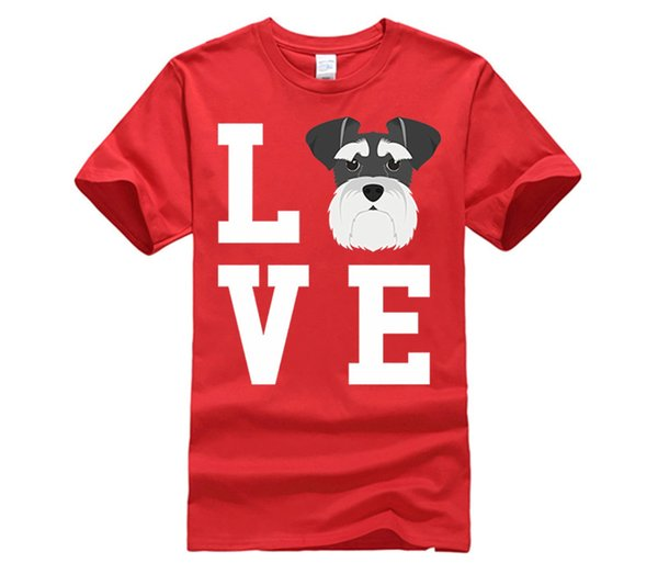 J'aime mon chien Schnauzer T-shirt d'amant animal T-shirts décontractés Tops Hip Hop T-shirt S-3Xl T-shirt femme