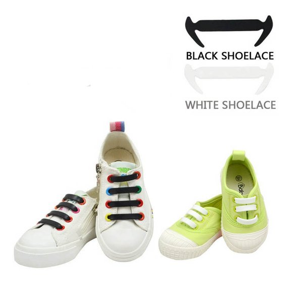 12Pcs/set Elastic No Tie Silicone Shoelaces For Kid's Sneakers Canvas Shoes Black White Novelty Lazy Laces