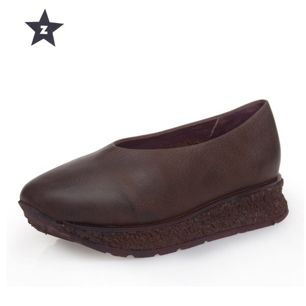 Compre Zapatos Grueso Cuero Vendimia Plataforma Chanclas Hechos Acogedores De La Zen Lucky Casuales Vaca A Mano Fondo pjSUzGLqMV