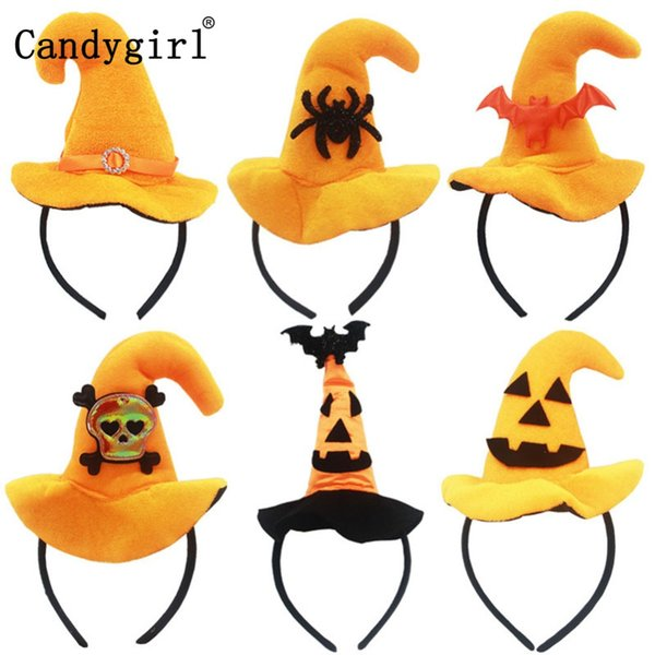 6pcs Orange Halloween Bats Hairbands Hoop Skull Hair Band Accessories Clasp Demon Pumpkin Witch Hat Headband Headdress Headwear