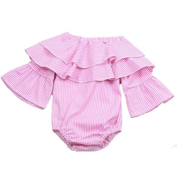 2018 nouveaux vêtements pour bébé été nouveau-né nourrisson bébé fille vêtements rayé épaule barboteuse romper sunsuit jumpsuit tenues longue manche évasée barboteuse