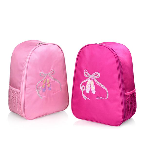 Embroider Ballet Dance Bag Girl Kids Children Book Bag Pink Waterproof Backpack