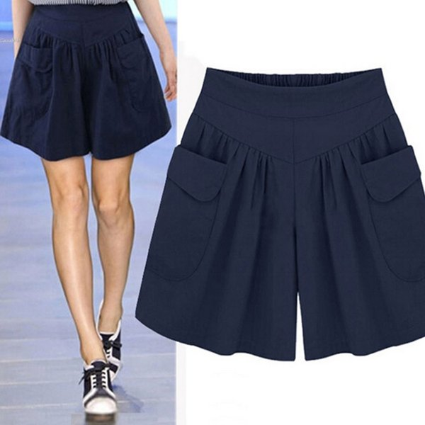 Women Casual Wide Legs Elastic High Waist Plus Size Solid Shorts With Pocket Plus Size