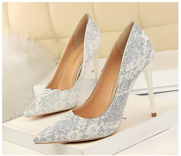 NEW style Silver ladies high heels Wedding shoes Bridesmaid shoes Dress high heels Fashion sequins Pointed high heels 7 colors size:34-40