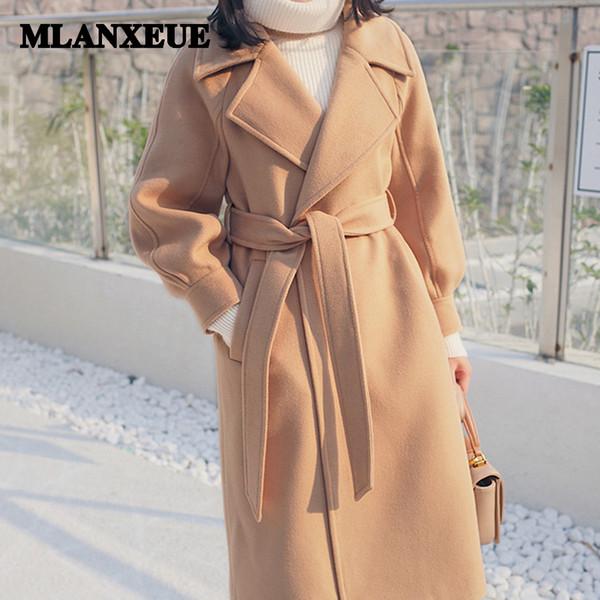 Plus size loose warm wool blends long winter coat turn-down collar adjustable belt wool coats women office work wear elegant