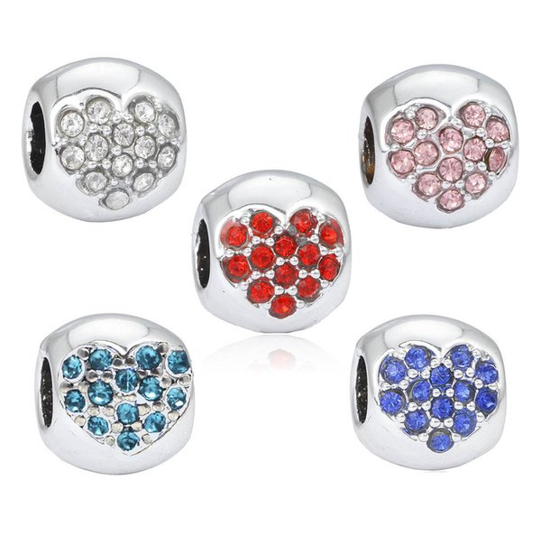Crystal Silver European Beads Accessories Fit Pandora Charms for Bracelets Wholesale for Girls Women Mom Love Blue Pink Red Heart Shape