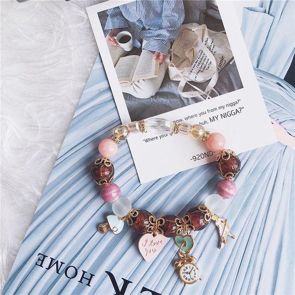 Fashion Charm Bracelets Pandora Bracelets For Women Clock Love Letter Bracelets As Gift Hand-Made Bohemia Jewelry Beaded