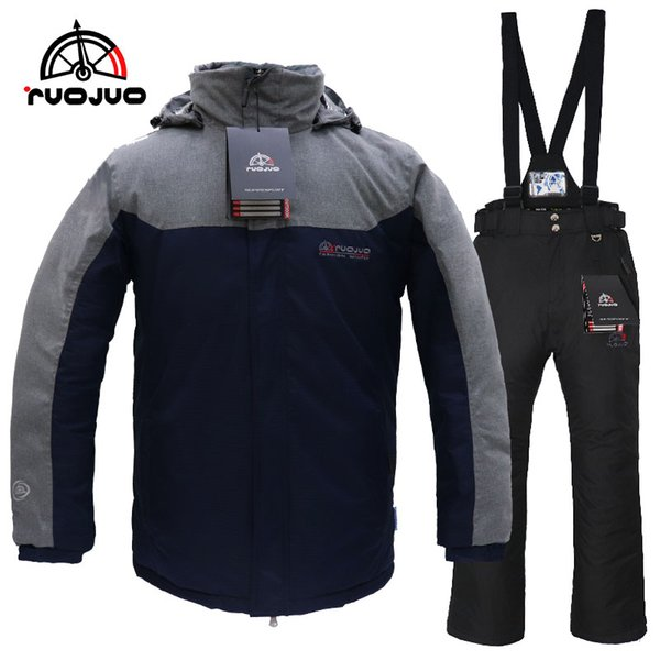 RUOJUO New Men Outdoor Ski Suit Winter Sport Snowboard Sets Waterproof Windproof Breathable Thermal Ski Wear Skating Clothes