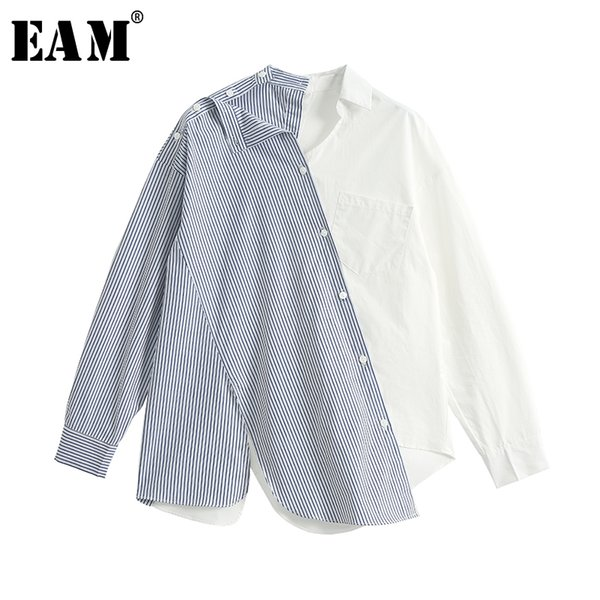 [EAM] 2018 New Autumn Winter V-collar Long Sleeve Blue Striped Stitching Lose Hit Color Shirt Women Blouse Fashion Tide JH625