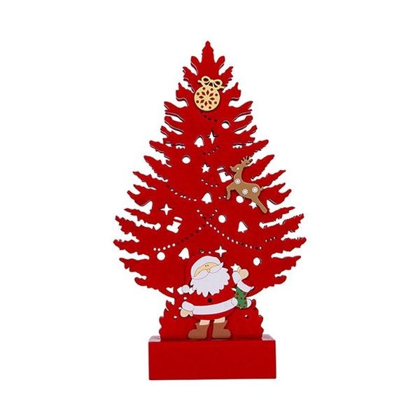 Karikatür Noel Ağacı Masaüstü Dekor Işık Ahşap Gece Işığı Noel Tatil Partisi Ev Yatak Odası için (Kırmızı)