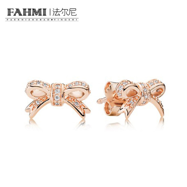 FAHMI 100% Sterling silver 1:1 Glamour 280555CZ Bow Rose stud earrings Original Women wedding Fashion Jewelry 2018