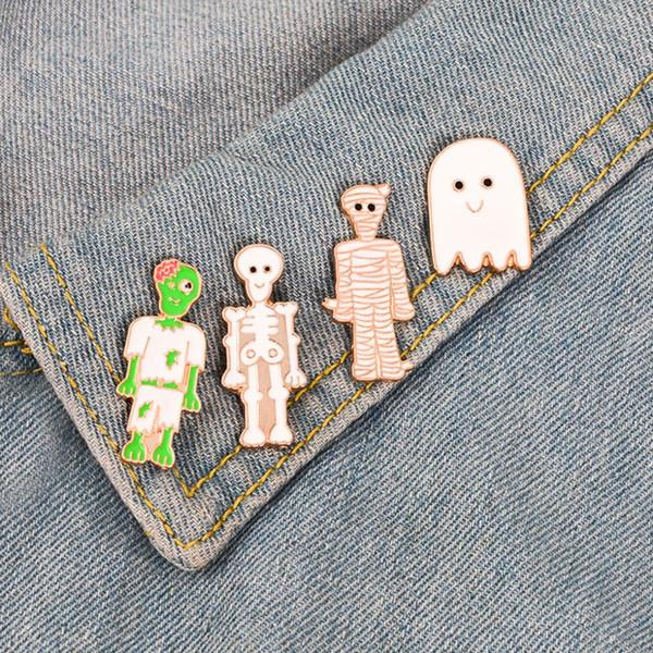 Novedad broche de halloween fantasma cabeza de calabaza momia gota broche unisex denim chaquetas Collar Pins botón salvaje accesorios de ropa