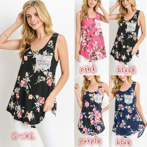 S-5XL New Summer 2018 Casual Women T-shirts Sleeveless O-neck Printed Patchwork Shirt Hem Loose Package Hip Women Clothes Tops