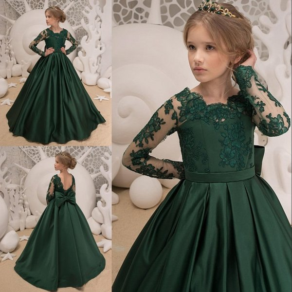 Dark Green Satin Girls Pageant Dresses Lace Applique Jewel Neck Long Sleeve A-Line Flower Girl Dress Lovley Bow Back Toddler Bithday Dresses