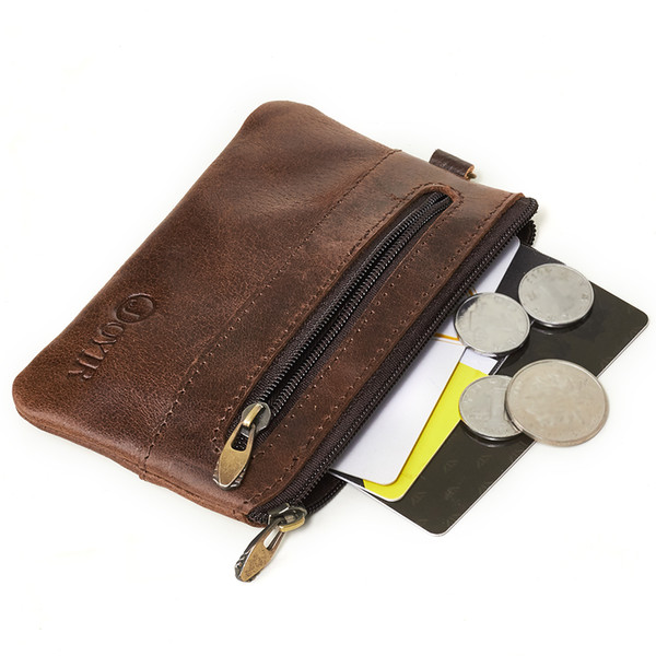 Wholesale Genuine Leather High Quality Zipper Card Holder Classic Vintage Men Coin Purses Small Wallet Bolsa Key Wallets Men Purse bags 2060