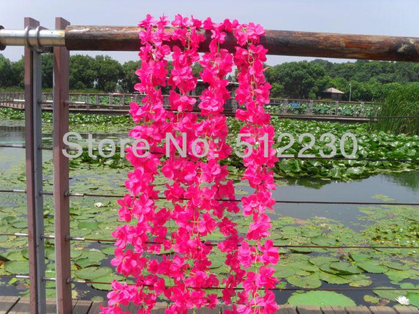 Großhandels-10 PC / Los, künstliche silk Blumengirlande, Seidenrose, Pfingstrose, Azaleen, jede 70 kleine Blumen. Hochzeitsparty Dekorationen