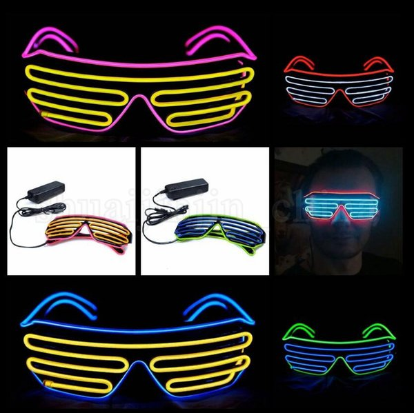 LED Sunglasses Flashing EL Wire Luminous Light Up Neon Glasses Costumes Party Decorative Lighting Activing Prop OOA5240