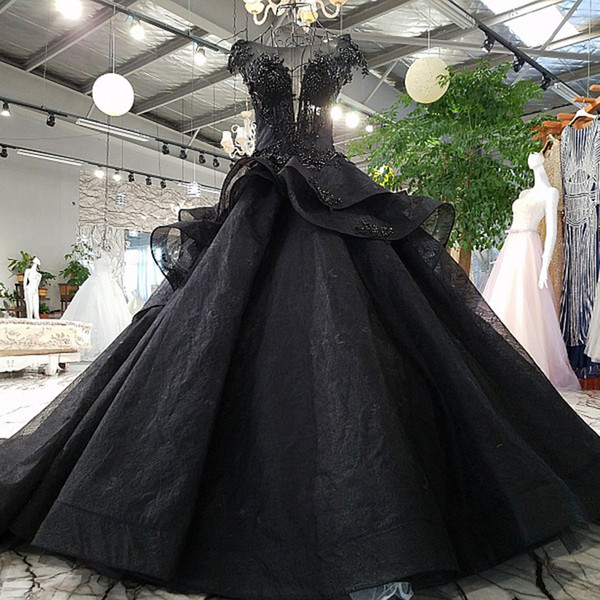 2019 Abito da sera nero Pizzo Fiori Backless Lace Up Back Prom Dress Beading Lusso Pretty Evening Dress Abiti da sera online Cina online