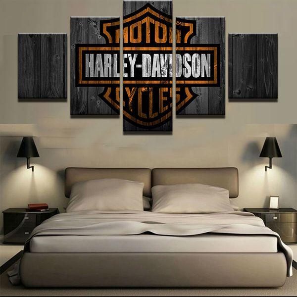 Motorräder Buchstaben Harley Malerei Leinwand Wandkunst Bilder unframe Home Decor 5 Stück HD gedruckte Poster