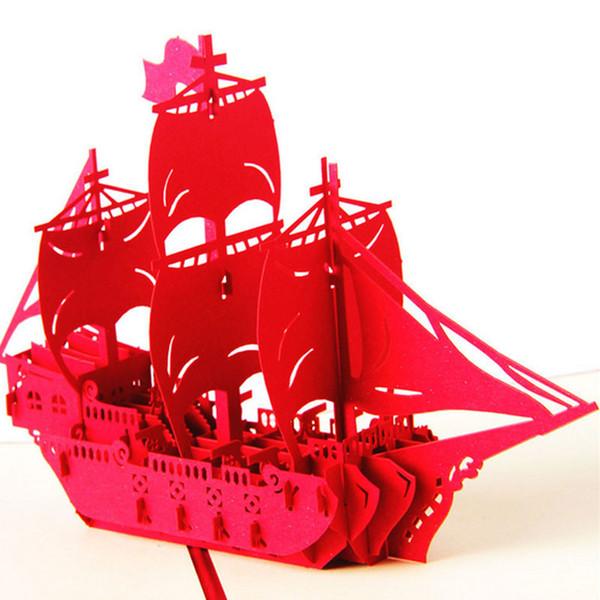 Tarjeta de felicitación 3D pop-up Cumpleaños de la nave hecha a mano Easter Anniversary Christmas-Y102