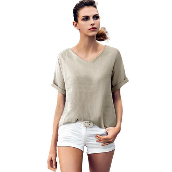 Feitong 2018 New Arrival Clothing Fashion Women Casual Cotton Linen Short Sleeve V Neck Top CropTops Shirt Fashion Women Elegant