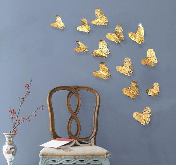 3D полые бабочки стены стикеры серебро золото стены стикеры для холодильника наклейки главная партия Свадебный декор