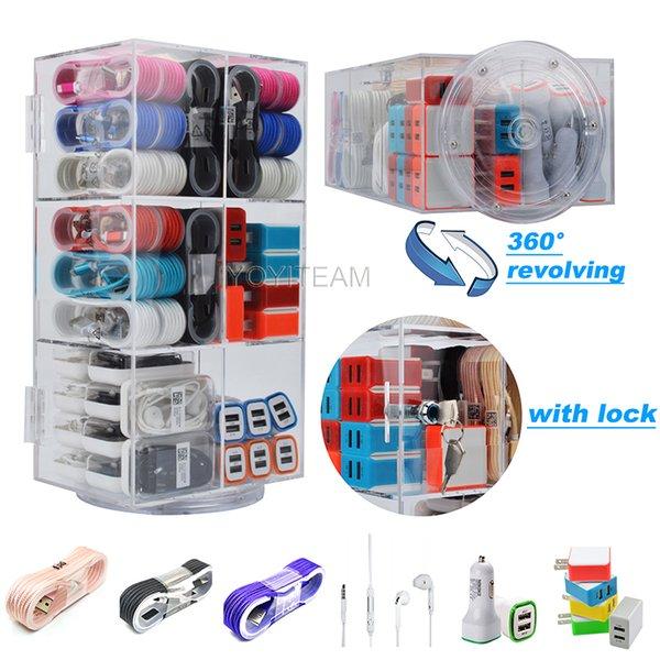 accessori del telefono acrilico display box 6in1 completamente trasparente con blocco e girevole per cuffie usb caricabatterie usb