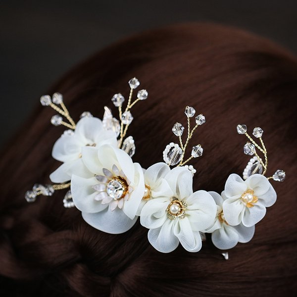 Bride Flower white Spun silk Flowers and plants Diamond insert weddings accessories wedding veils wedding bridal hair accessories