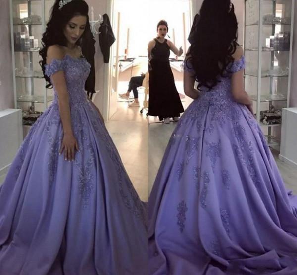 Elegante 2019 vestidos de quinceanera Lavendel Ballkleid Quinceanera Kleider Schatz weg von der Schulter Appliques Satin Sweet 16 Kleider