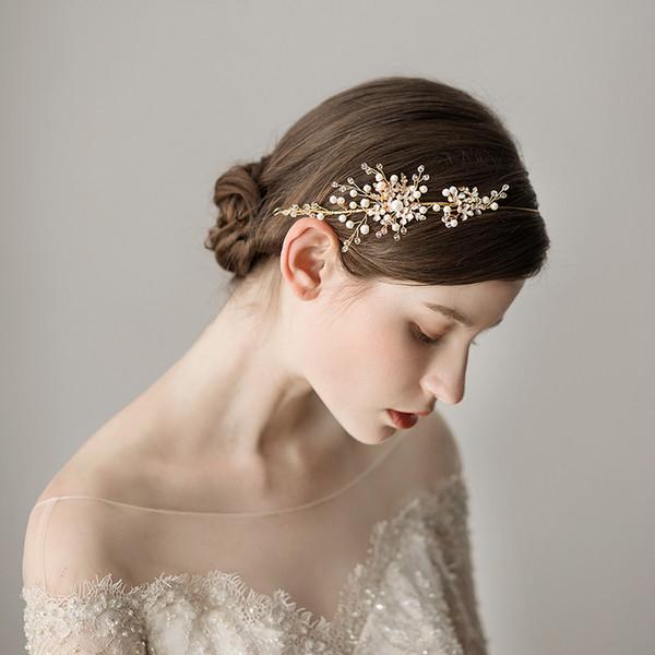 2018 New Vintage Wedding Bridal Fasce Per Capelli Perle di Lusso In Rilievo Decorazione di Gioielli Da Sposa Dorata Accessori Spedizione Gratuita CPA1429