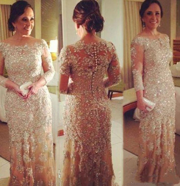 Long Sleeve Mother of the Bride Lace Dresses Elegant Champagne Formal Wedding Events Sequin Evening Gowns Lady Wedding Party Evening Dresses
