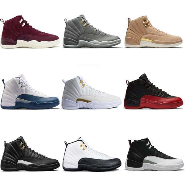 Cheap New 12 mens basketball shoes Wheat Dark Grey Bordeaux Flu Game The Master Taxi Playoffs French Blue Barons Athletic Sports sneakers