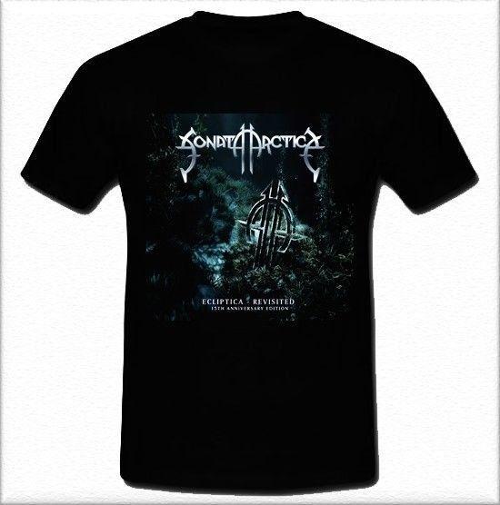Camiseta Estilo Verão Dos Homens Broadcloth Tripulação Pescoço Sonata Arctica Ecliptica Poder Finlandês Banda de Metal Banda Curta-Luva T Camisa